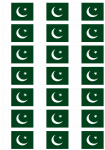 Pakistan Flag Stickers - 21 per sheet